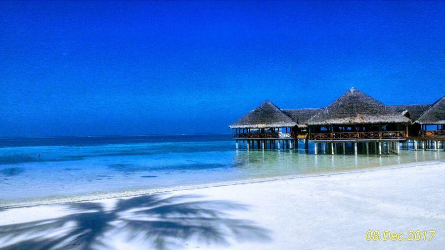 The lobby at Medhufushi Island Resort in the Maldives
