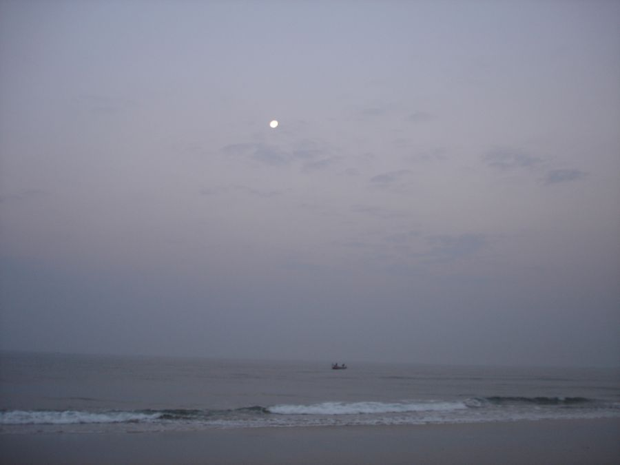 The moon shines over the sea