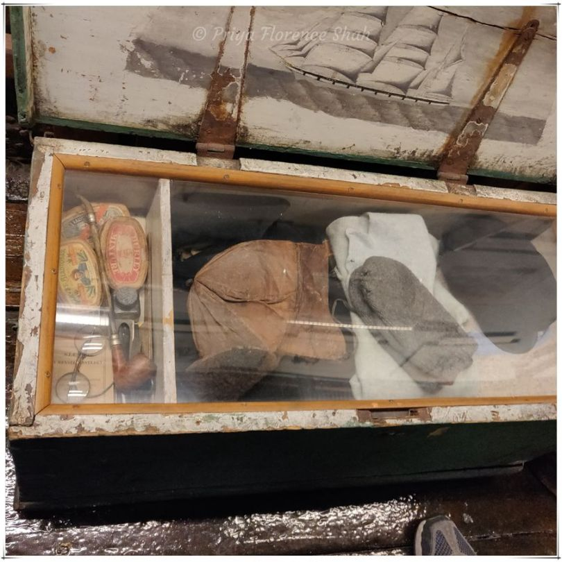 A trunk of clothes and accessories worn by explorers