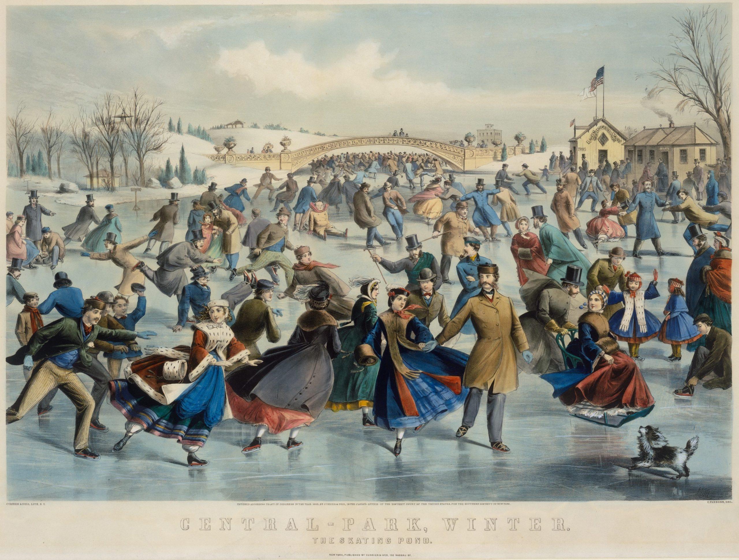 Currier & Ives, Charles Parsons, Central Park, Winter, Skating Pond