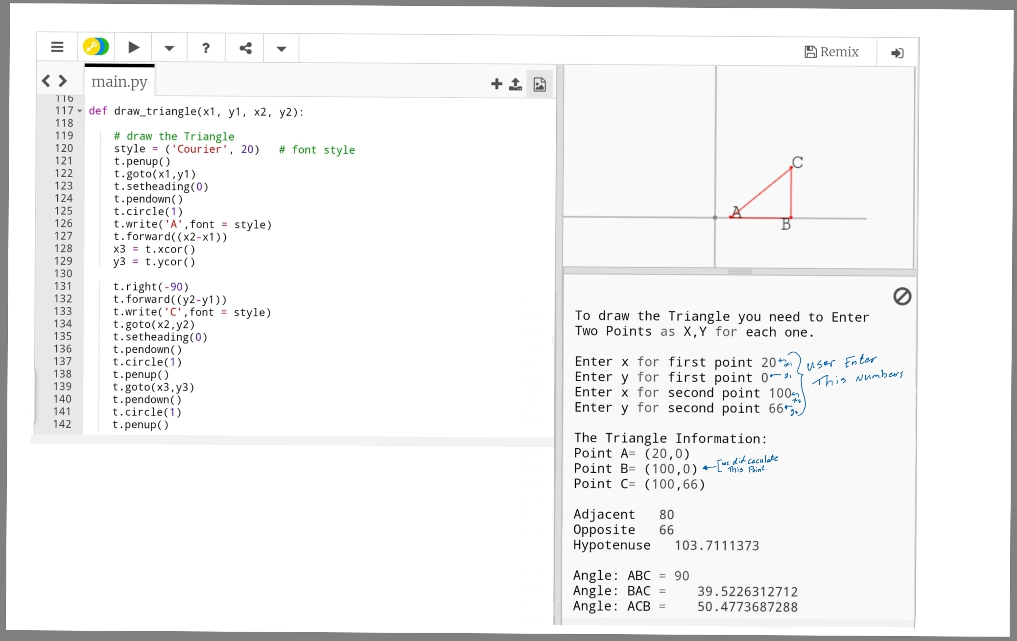 python triangle parameters ali s