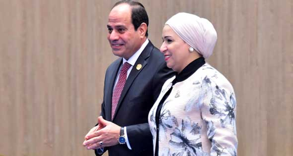 تحية للمرأة المصرية من الرئيس السيسي وقرينته