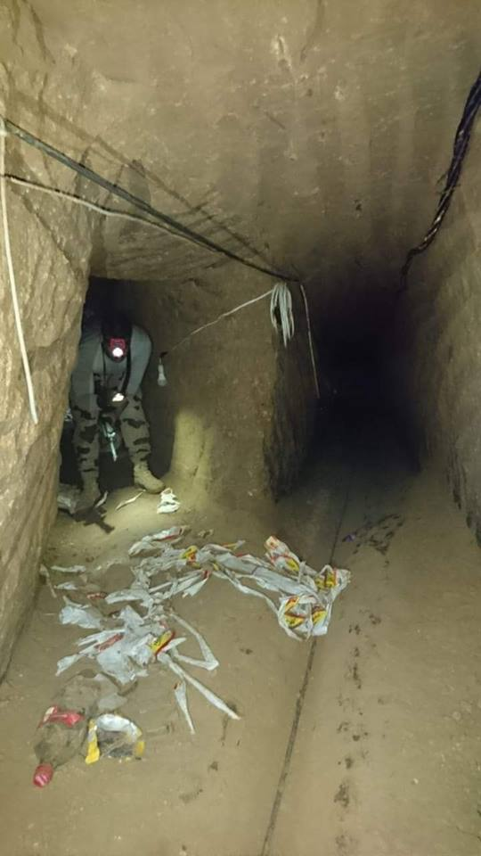 إكتشاف وتدمير عدد (9) فتحة نفق على الشريط الحدودى بشمال سيناء