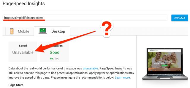 google pagespeed tool error
