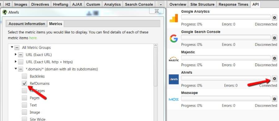Dados do Ahrefs no URL Profiler