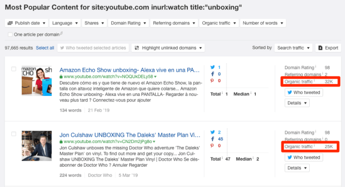 content explorer youtube unboxing traffic
