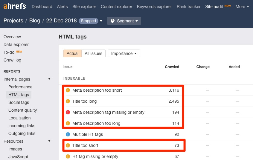 site audit html tag issues 1