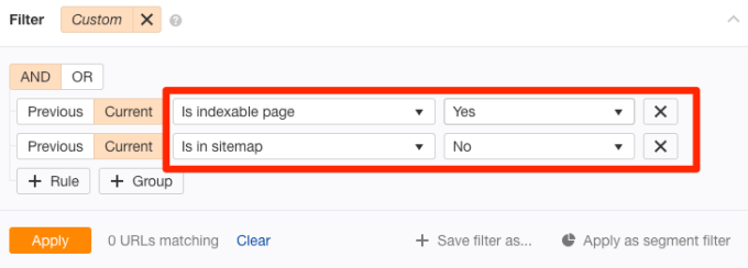 not in sitemap indexable