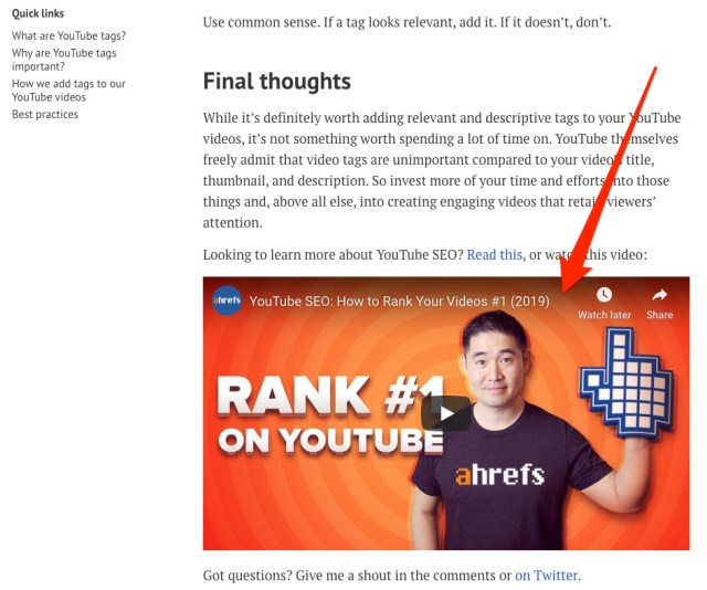 youtube tags embed 1