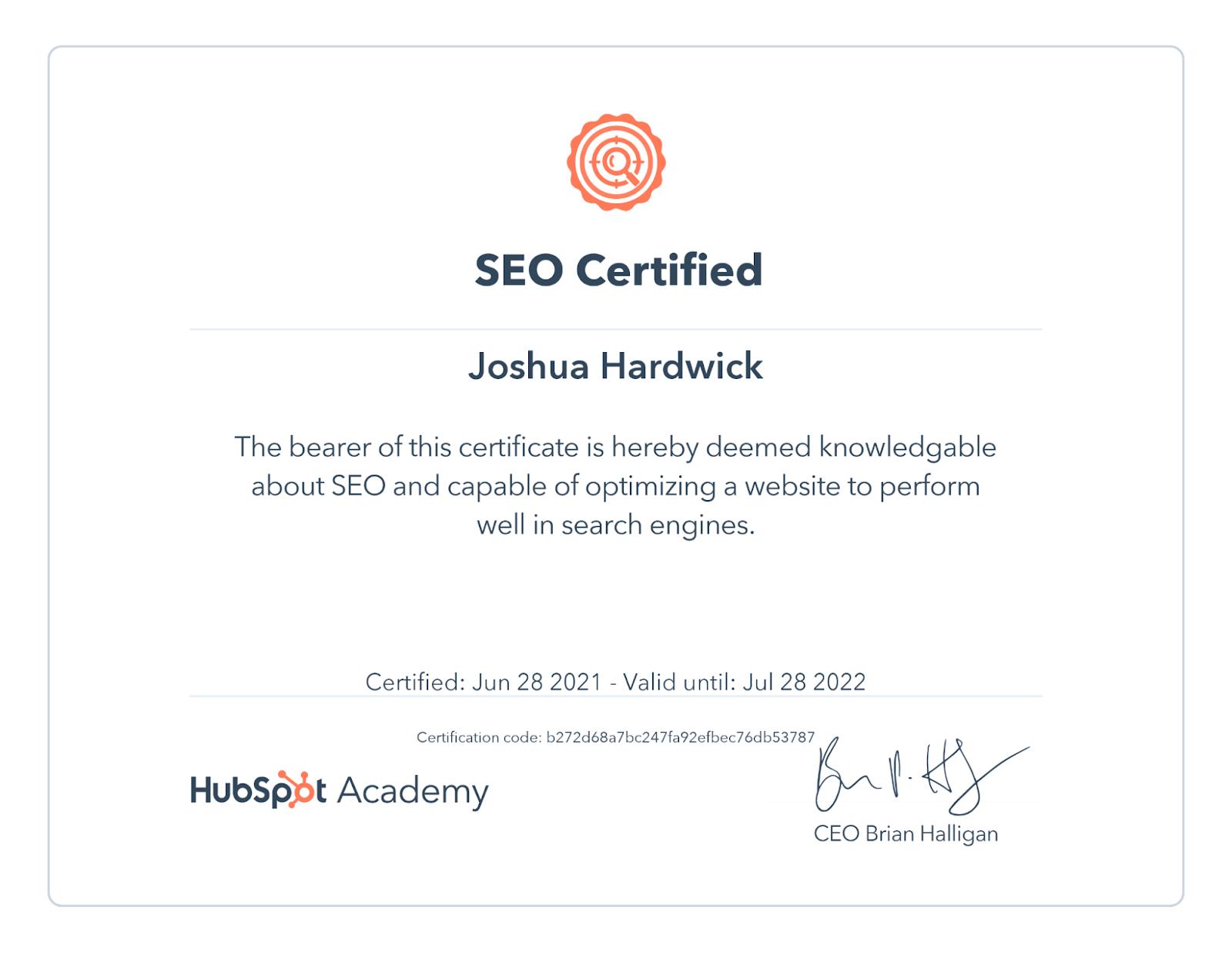 hubspot-seo-certification