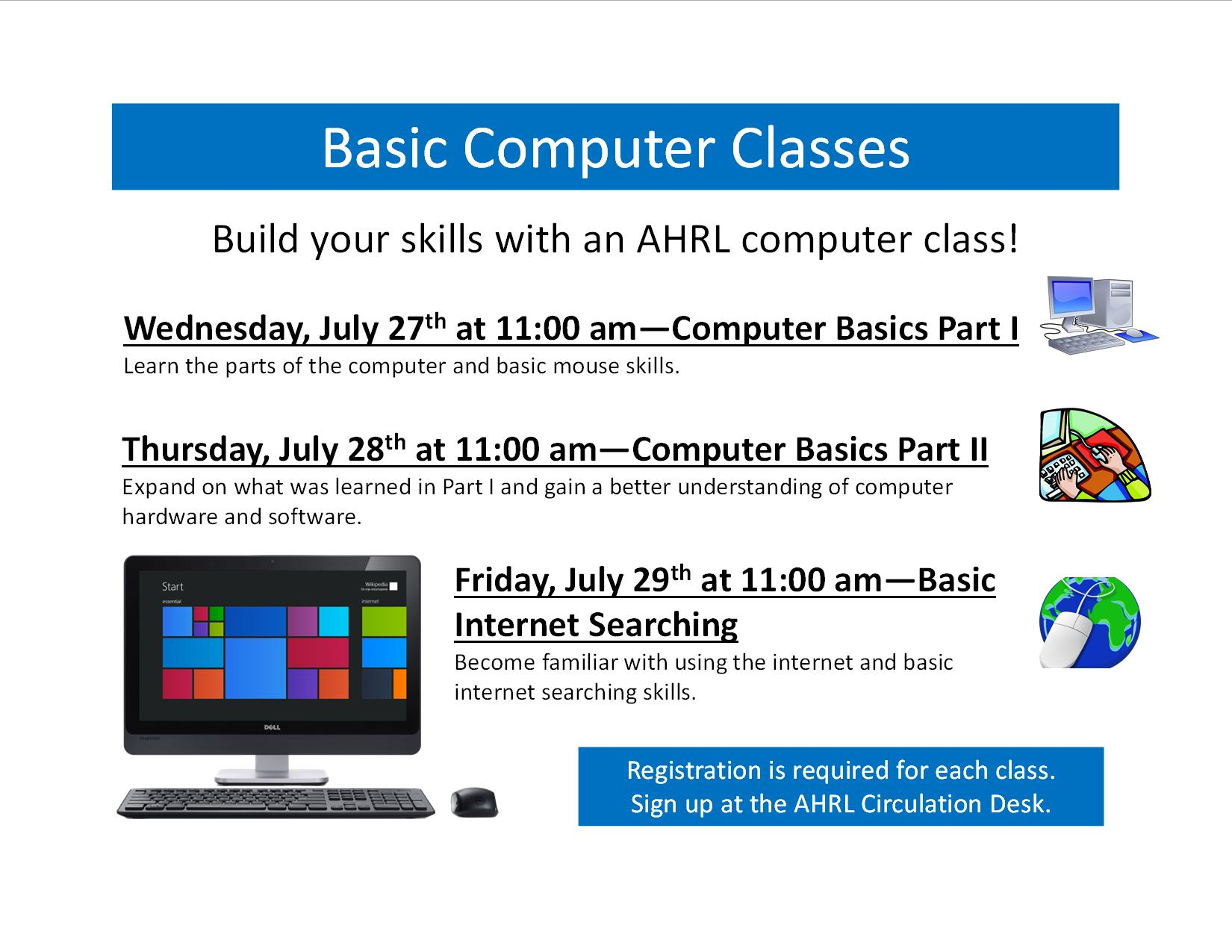 Basic Computer Classes Being Offered At Ahrl