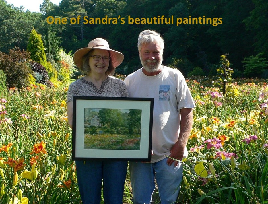 Photo of Sandra Moore, on left, and Robert Selman, on right, showing one of Sandras beautiful paintings of Blue Ridge Daylilies.