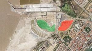 Foto aérea de la zona afectada, en rojo el sector 8 donde se proyecta construir el centro comercial y en verde el núcleo reproductor de gaviota de Audouin.