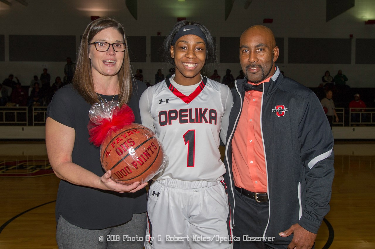 Senior Anita Payne received a basketball to celebrate her making 1000 points