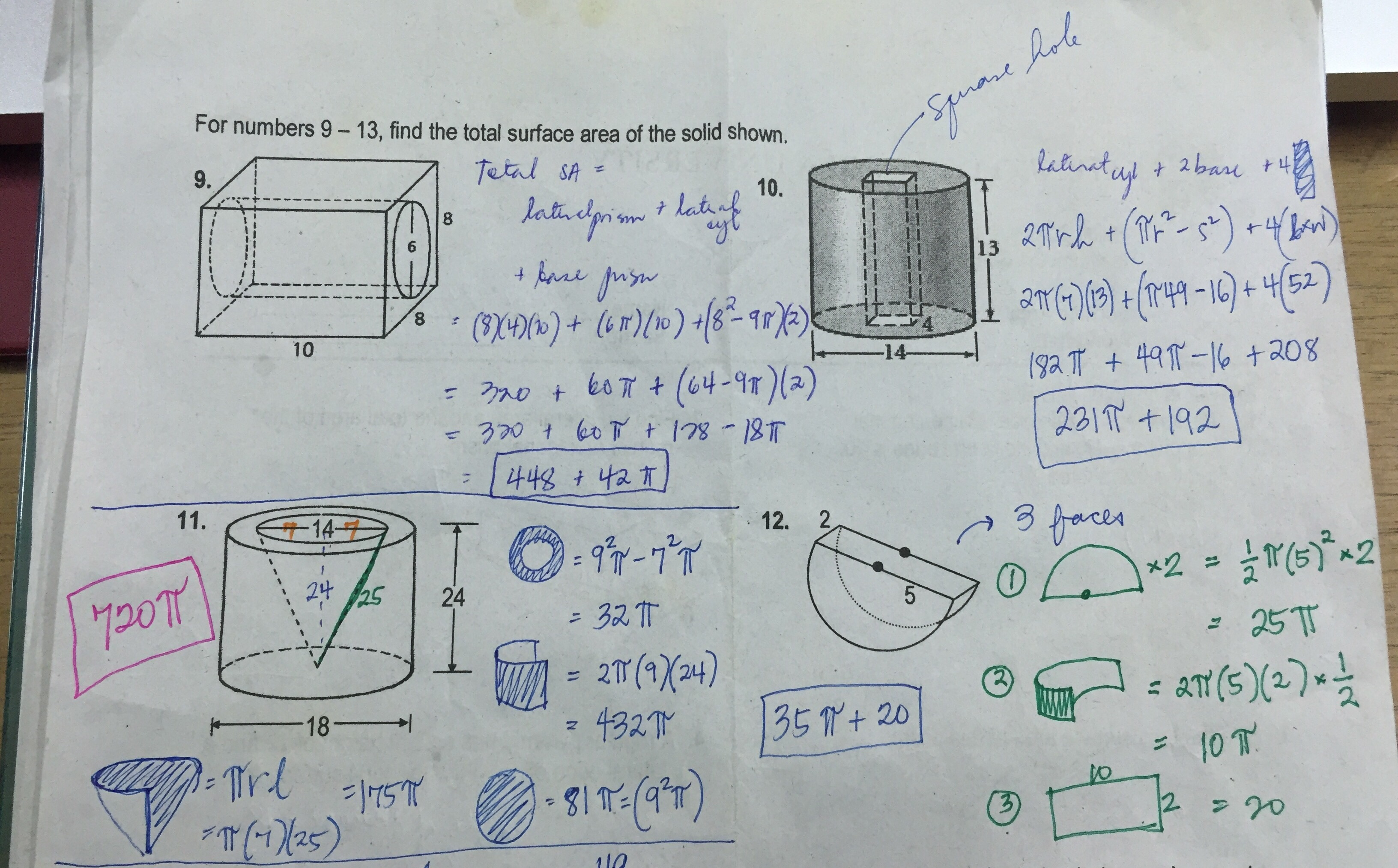 Grade 11 Surface Area Worksheet Answer Key Ateneo High School Mathematics