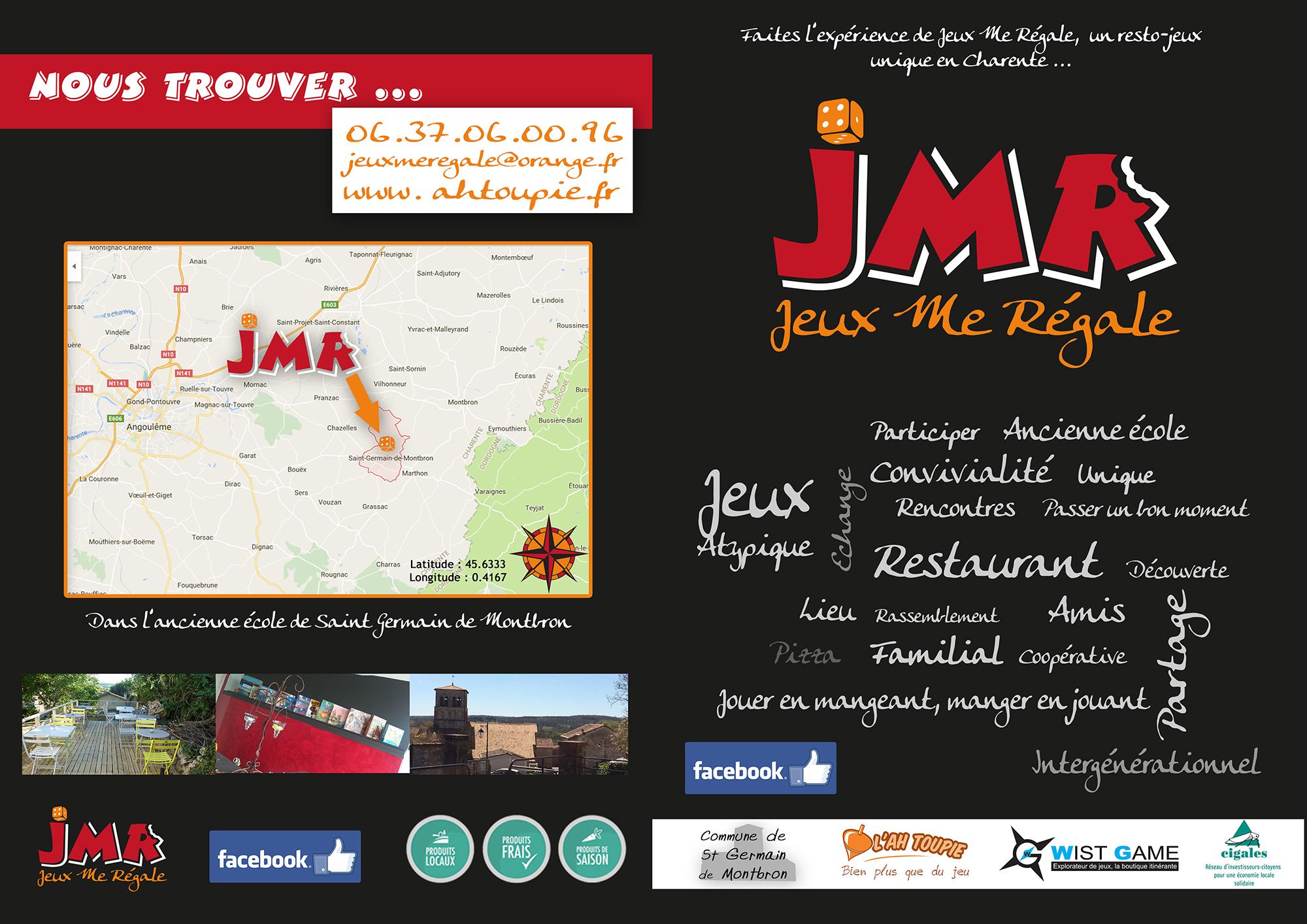 Plaquette Jeux me régale JMR présentant leurs activités