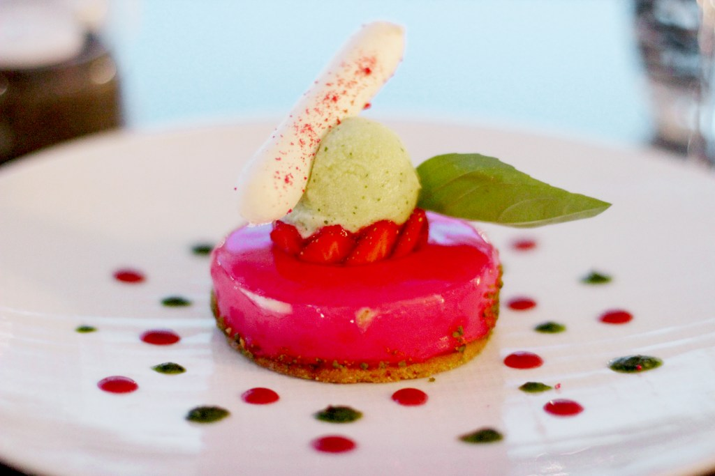 Strawberry Panna Cotta with Basil Sorbet