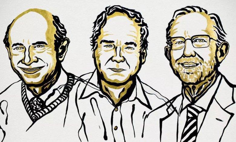 العلماء الثلاثة برسمة من جمعية جائزة نوبل