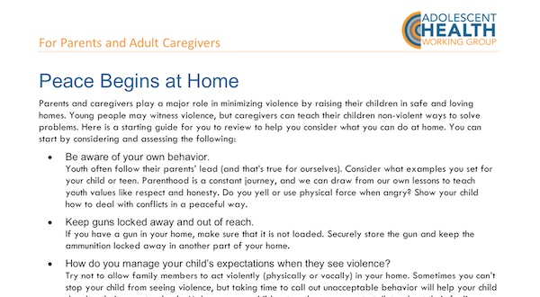 Updated Resource – Peace Begins at Home