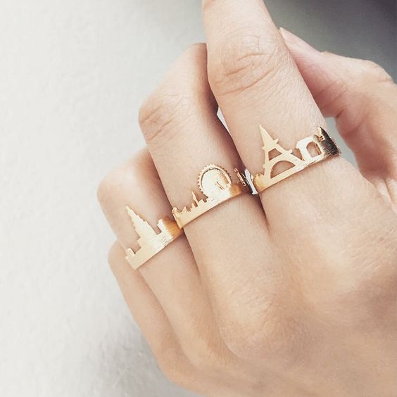 city skyline rings etsy