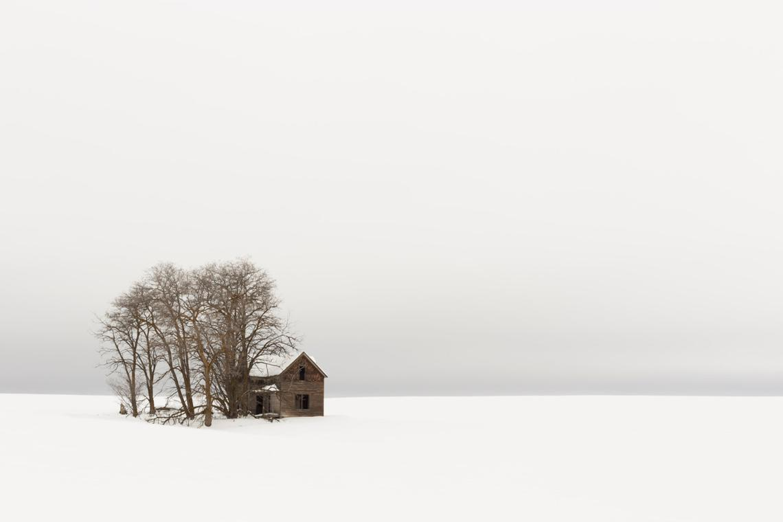 Winter Cabin, Black and White Photography by KSwanArt