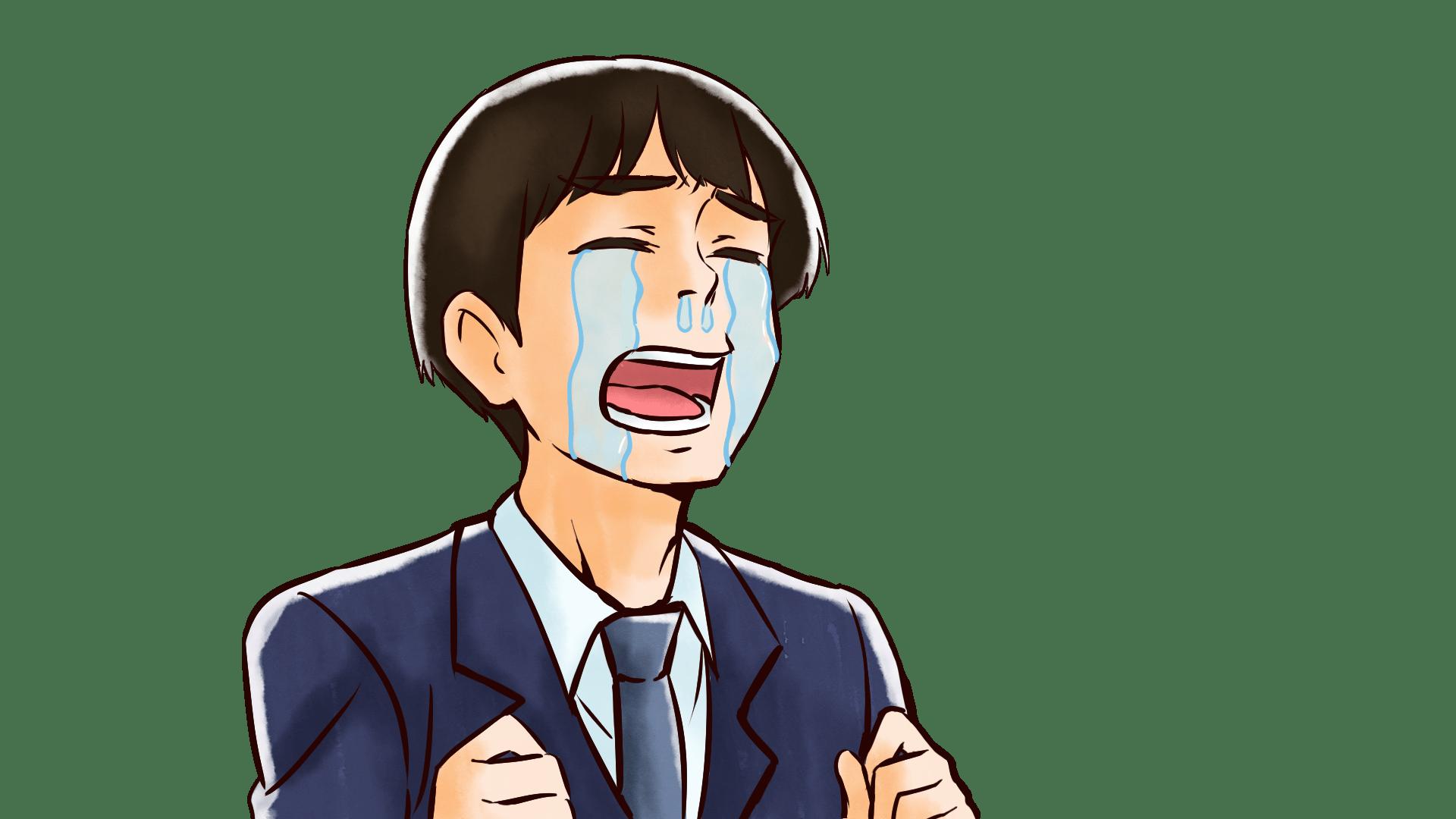 号泣する若い社会人男性のフリーイラスト画像素材商用無料 アイ