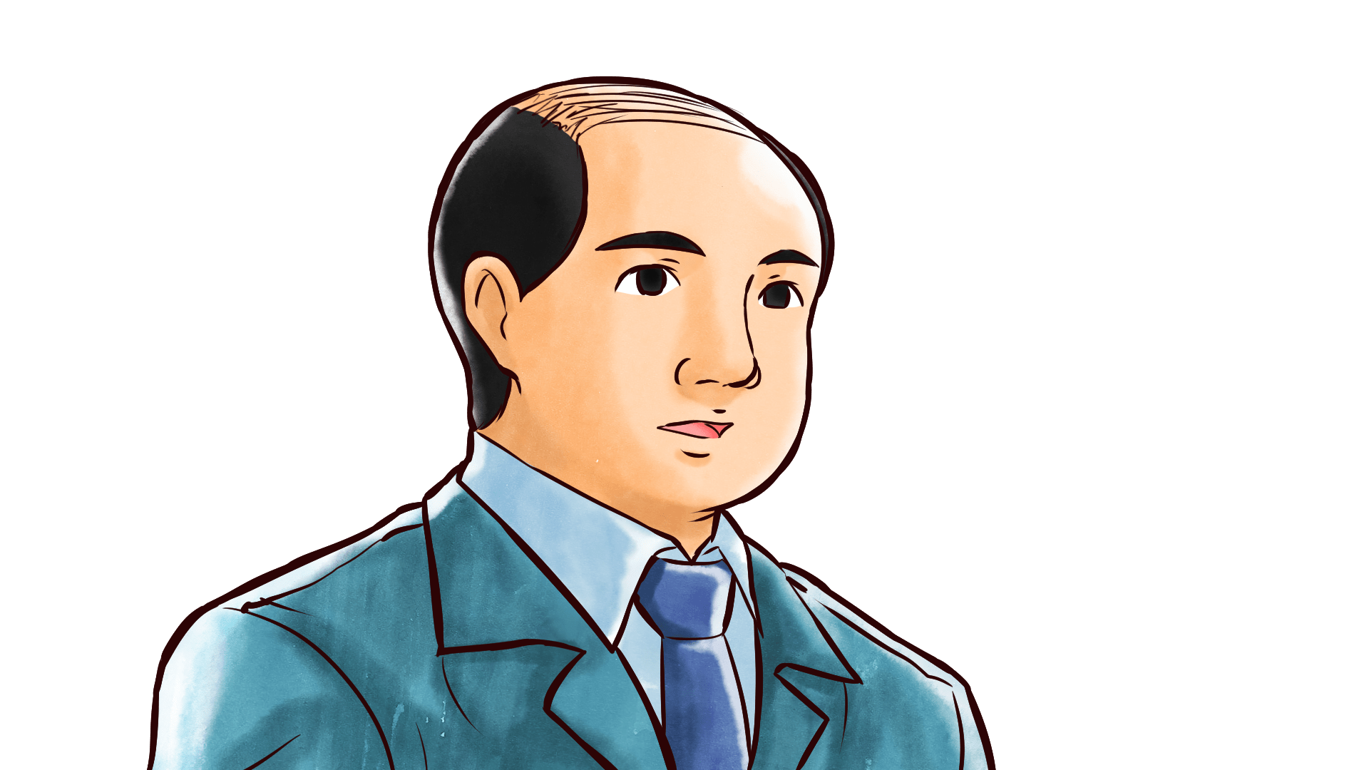 真面目な表情を浮かべるスーツ姿のハゲたおじさんのフリーイラスト画像