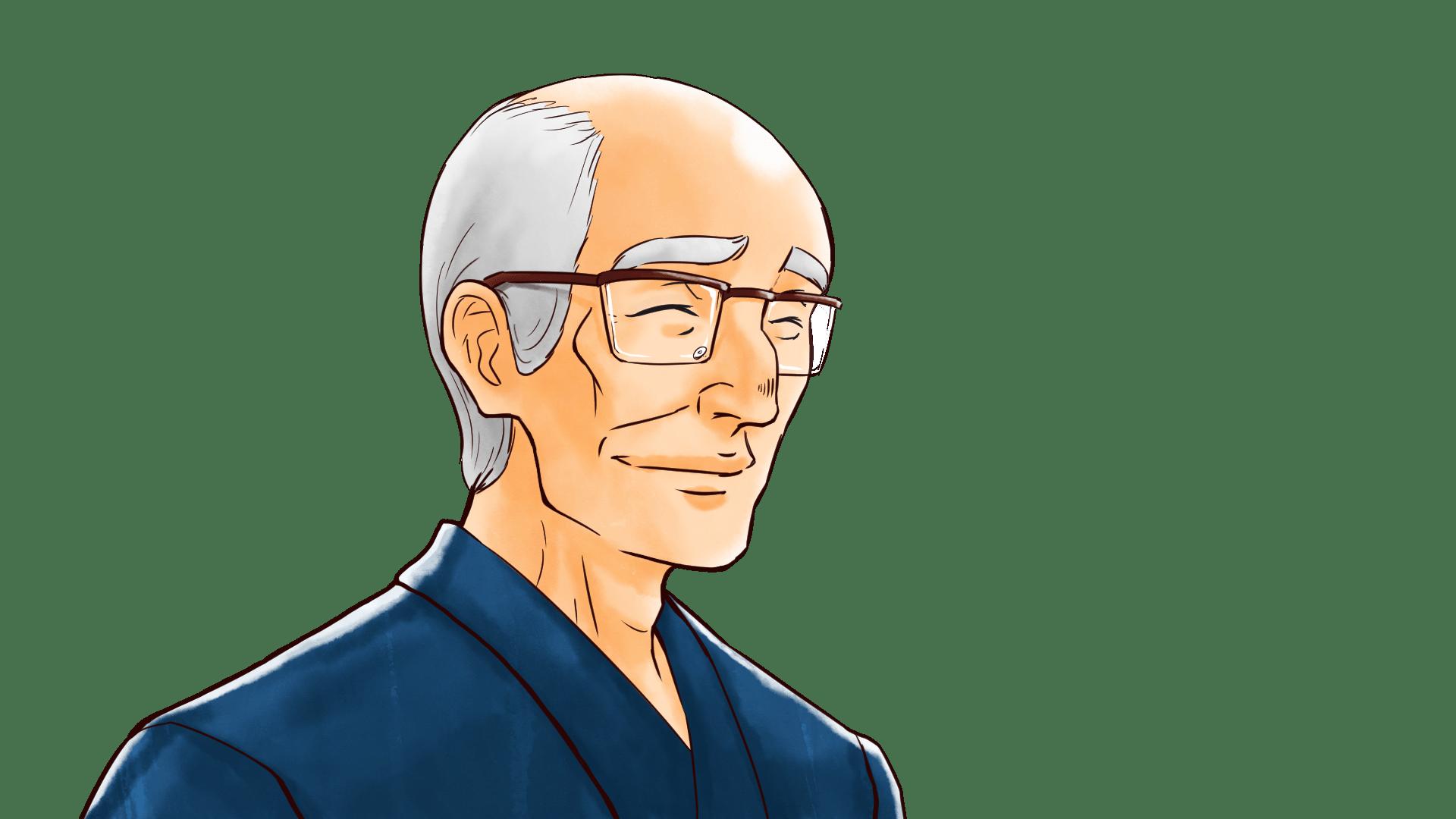真面目な表情を浮かべるイケメンのおじいさん老人のフリーイラスト画像