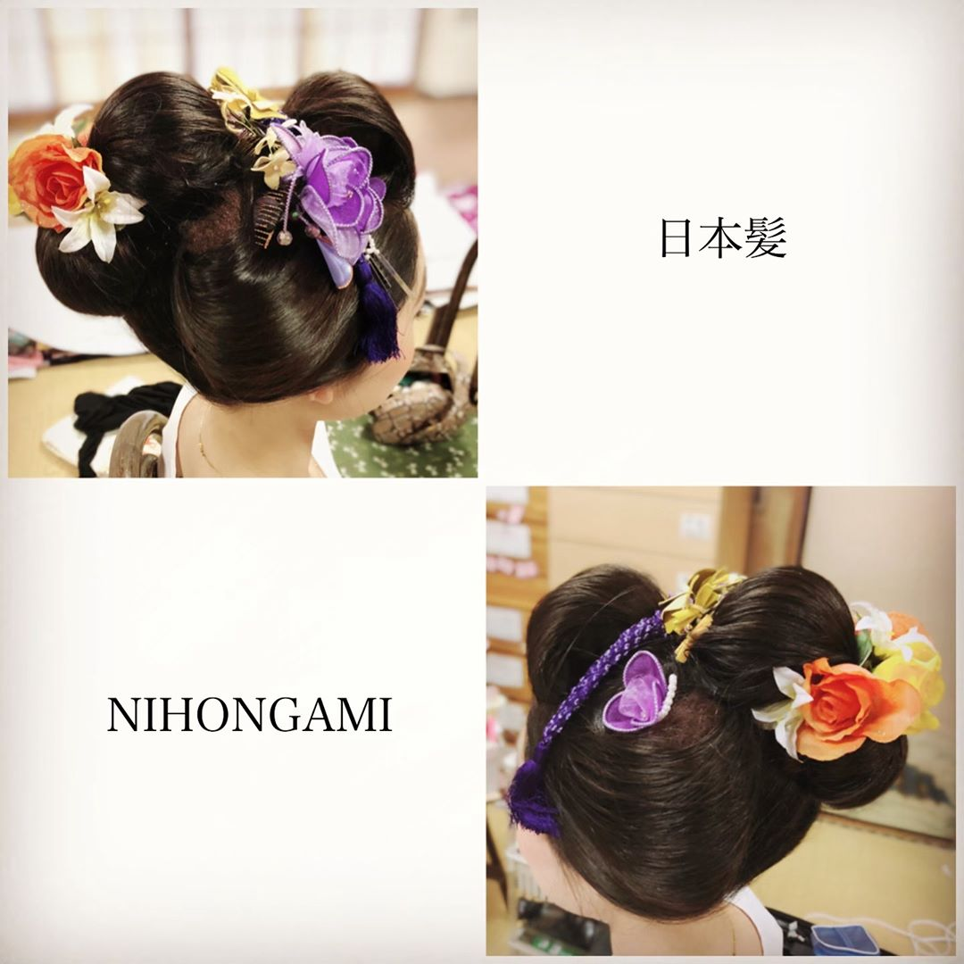 新日本髪結わせていただきました。 成人式をひかえているお嬢様。 艶のある美しい黒髪で、結いやすかったです。 きれいな方で、20歳の可憐さと色気を表現したい〜ってチカラが入りました、はい。 aiderスタッフ…日本髪が好きで、『日本髪結いたい』って言われると俄然ヤル気がみなぎるところがありまして…。  日本髪って同じように感じる方もいらっしゃいますが、形やバランスで印象が変わるんですよね。 鬢の大きさや丸み、前髪の立ち上げ具合など、お客様にあうようにバランス考えるのが楽しいです。 私はどこか可愛いとか可憐な雰囲気を感じる形が好きです。 なんか…もう、本当に、結いたい(笑)  七五三の子でも、十三詣りの子でも、成人式の方でも、どの年代で結ってもその年頃の魅力が滲み出る日本髪、好きですね〜。 憧れと好きでいっぱいです。 まだまだ師匠たちの足元にも及ばない修行の身、引き続き頑張ります。(100人目指して日本髪結いたいプロジェクトは最近カウントしてなかったけれど、引き続いています✨また今度カウントしてアップしますね)  #成人式新日本髪  #七五三新日本髪  #成人式前撮り  #新日本髪  #地毛結い  #かんざしなかったから花で代用 #nihongami  #和髪  #kimono  #和泉市出張着付け  #ヘアセット  #hairstyle  #100人目指して  #和泉市に日本髪流行らせたい  #和泉市出張着付けaider