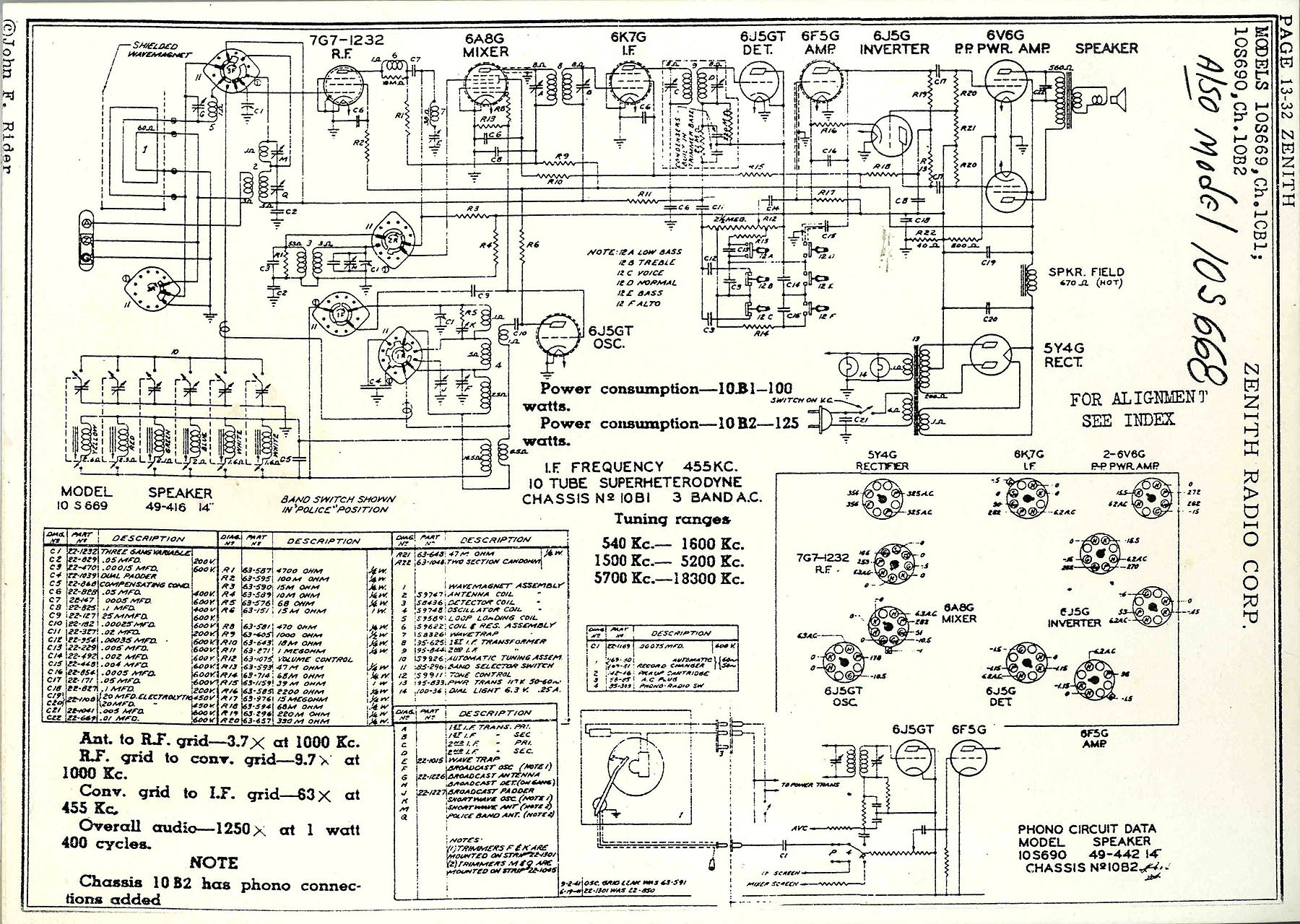 hight resolution of circuit diagram for the 1938 zenith model 10s668 console radio this 10 tube 3 band radio tunes broadcast shortwave signals from 550 khz to 18mhz