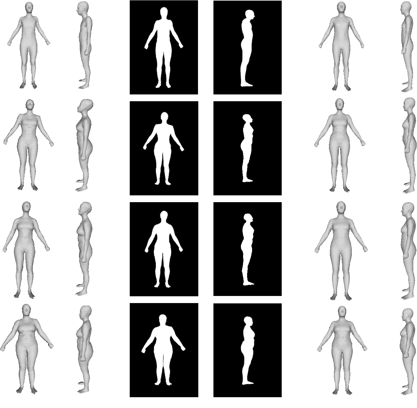 Hs Nets Estimating Human Body Shape From Silhouettes With