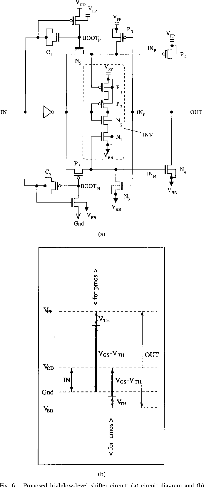 hight resolution of proposed high low level shifter circuit a
