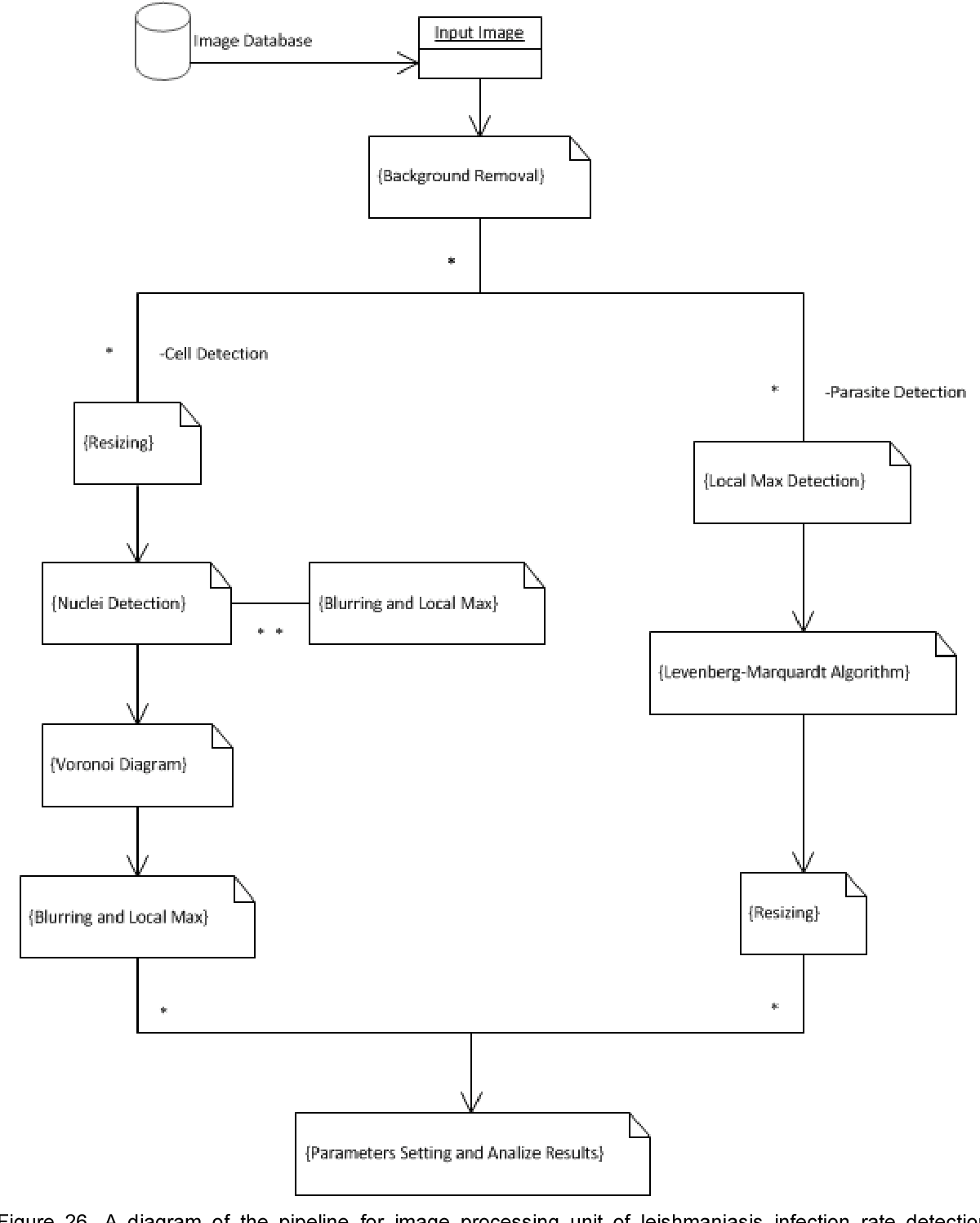 hight resolution of a diagram of the pipeline for image processing unit of leishmaniasis infection rate