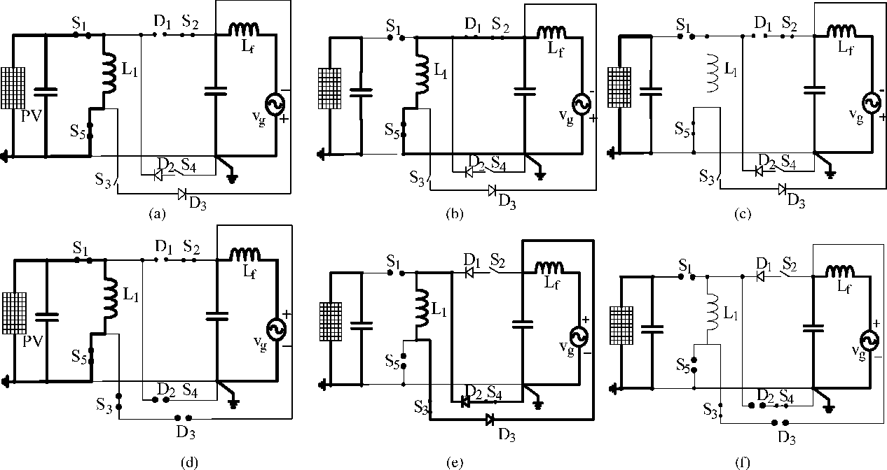 hight resolution of circuit diagrams for various operating modes of the proposed configuration