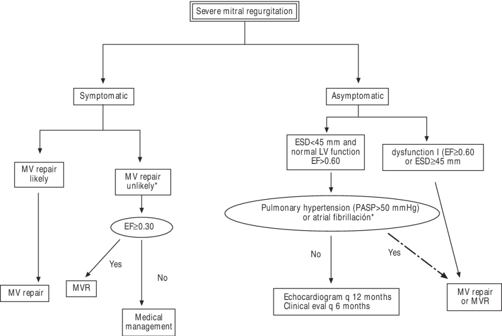 medium resolution of fig 17 algorithm for management of severe mitral regurgitation surgery for asymptomatic