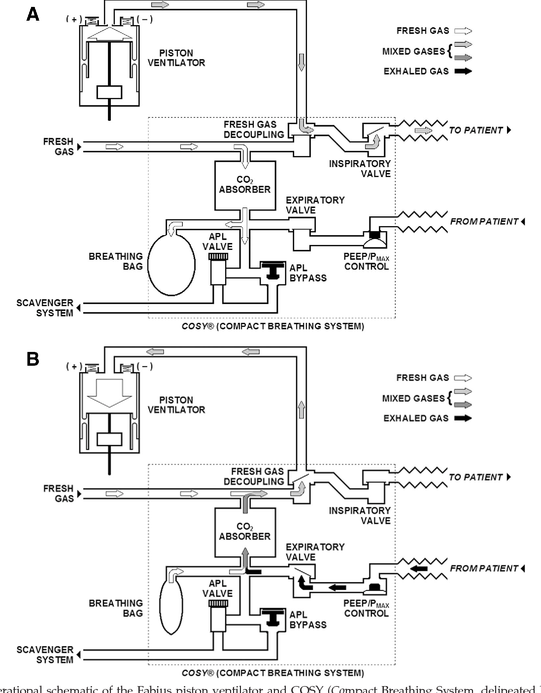 hight resolution of operational schematic of the fabius piston ventilator and cosy compact breathing system