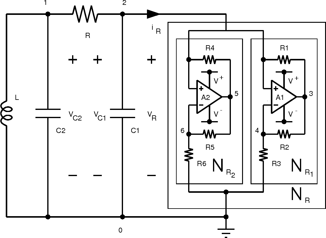 hight resolution of figure 10 realization of chua s circuit using two op amps and six linear resistors to