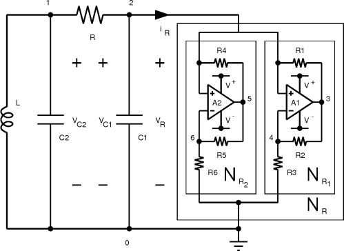 small resolution of figure 10 realization of chua s circuit using two op amps and six linear resistors to