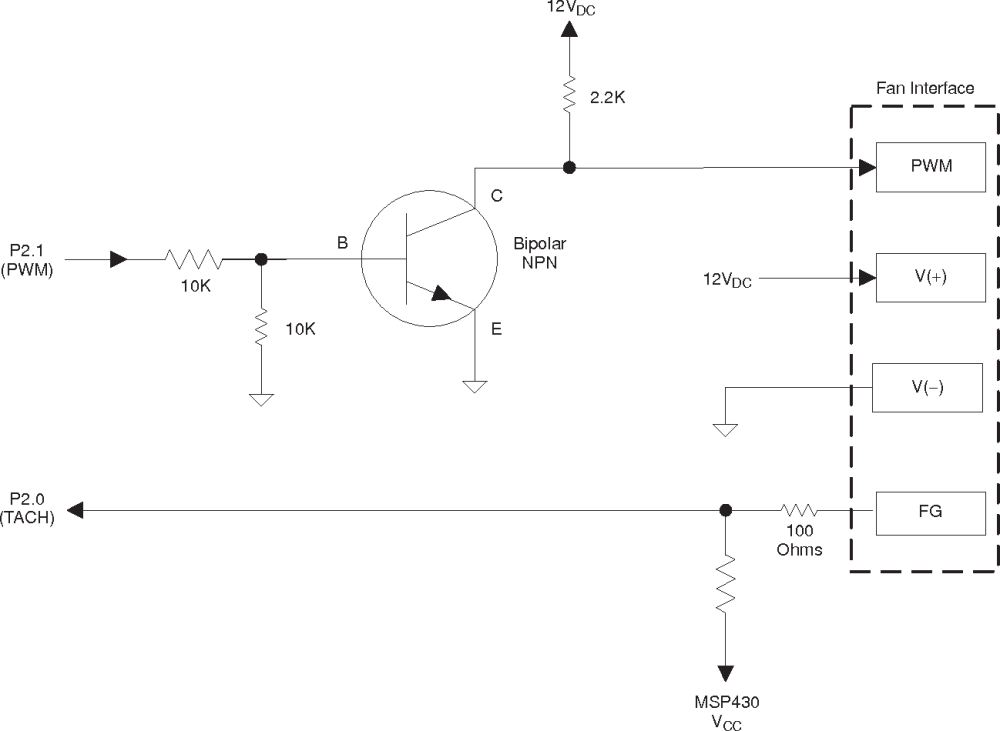 medium resolution of typical cooling fan interface circuitry 4 wires