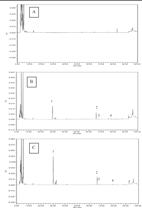 small resolution of 3 hplc chromatograms of cooked beef patties with a 0 kudzu root crude
