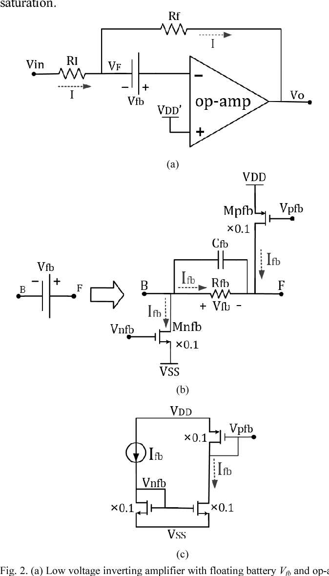 medium resolution of  a low voltage inverting amplifier with floating battery vfb and