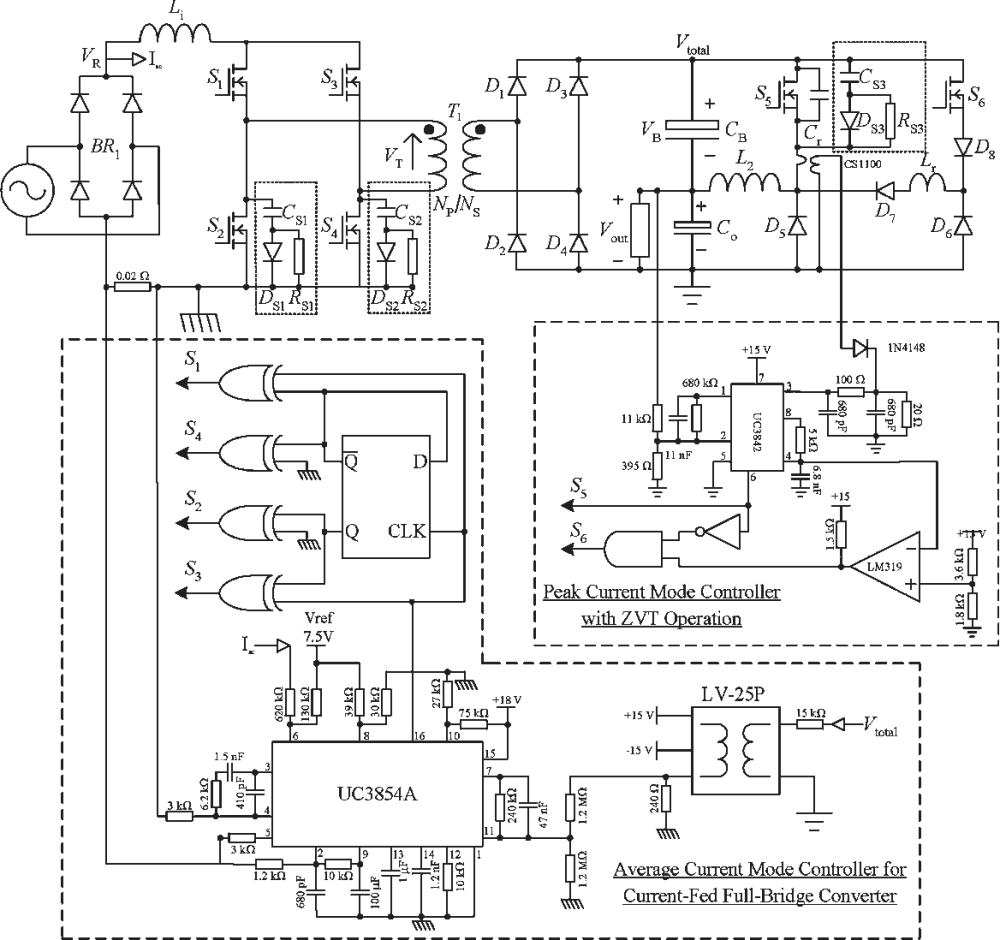 medium resolution of schematic diagram of the experimental noncascading pfc power supply prototype