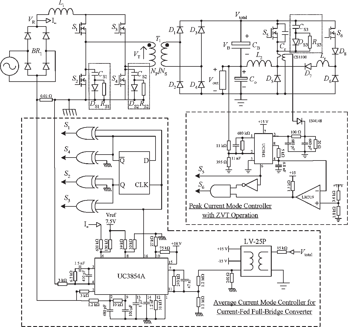 hight resolution of schematic diagram of the experimental noncascading pfc power supply prototype