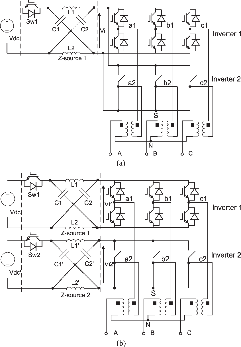 hight resolution of suggested configurations of dual z source inverter under upper switch open