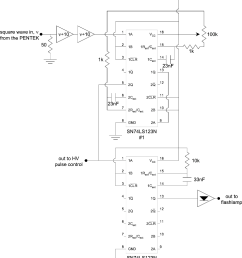 schematic diagram of the timing circuitry for the dynamics experiment  [ 958 x 1098 Pixel ]