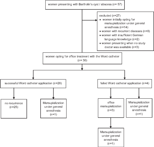 small resolution of flow diagram showing the number of women treated with word catheter and