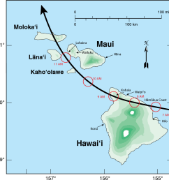 map showing the reconstructed track of the hawaii hurricane across the eastern [ 1138 x 1172 Pixel ]