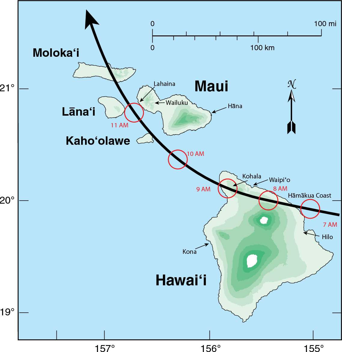 hight resolution of map showing the reconstructed track of the hawaii hurricane across the eastern