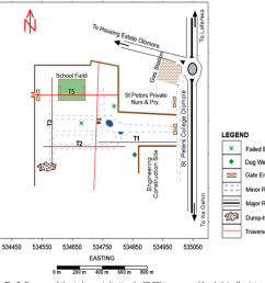 fig 2 base map of the study area indicating the 2d eri traverses and [ 1050 x 868 Pixel ]