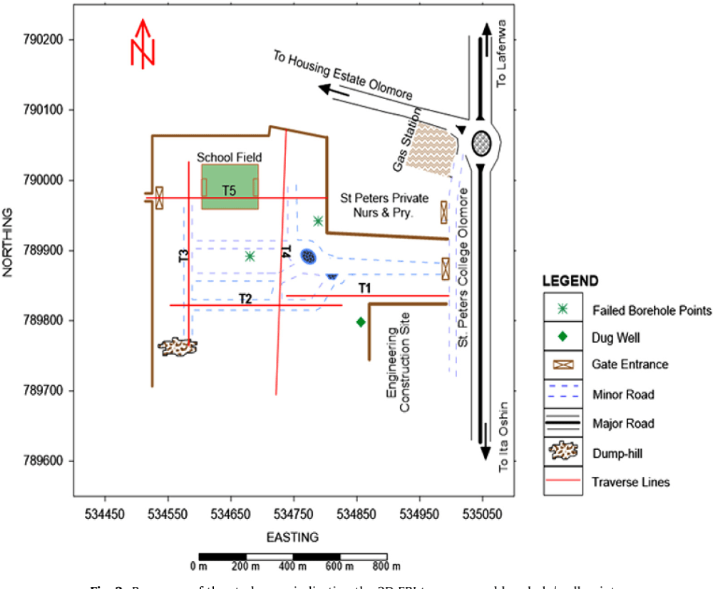 medium resolution of fig 2 base map of the study area indicating the 2d eri traverses and
